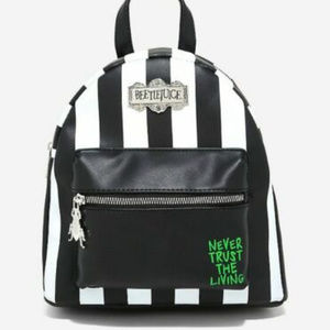 Beetlejuice Striped Faux Leather Mini Backpack